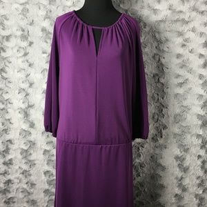 Talbots Purple Keyhole Peasant Sleeve Dress